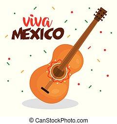 guitar instrument viva mexico poster
