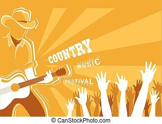 guitar., interpretacja, tło, muzyka, wektor, afisz, święto, muzyk, kraj