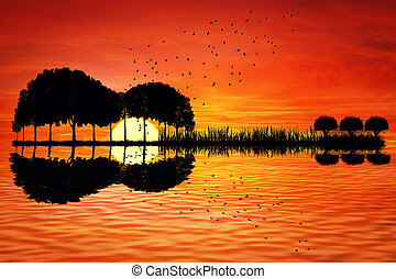 guitar island sunset - Trees arranged in a shape of a guitar...