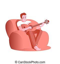 guitar., jeune homme, jeux, chaise
