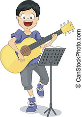 Guitar Kid - Illustration of a Kid Playing the Guitar