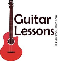 Guitar Lessons School Logo Vector Flat Illustration Music