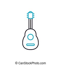 Guitar linear icon concept. Guitar line vector sign, symbol, illustration.
