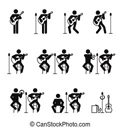 Guitar man icons set with cajon tambourine and saxophone illustration pictogram black color isolated on white background