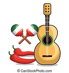 guitar maraca and chili mexican symbol graphic