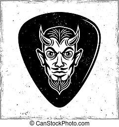 Guitar mediator with horned devil head vector