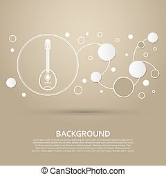 Guitar, music instrument icon on a brown background with elegant style and modern design infographic. Vector