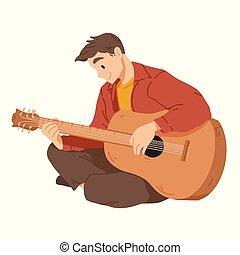 guitar., musician., ミュージカル, ベクトル, performance., 遊び, 人