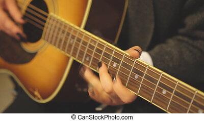 guitar., musicien, femme, unrecognized, jouer