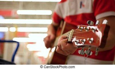 guitar., musicien, jean, haut fin, acoustique, mâle, jouer