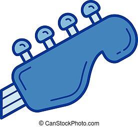 Guitar neck line icon.