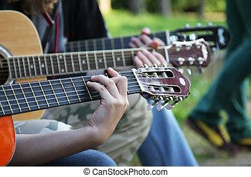 Guitar necks of hand 1