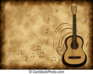Old background music with a guitar