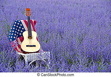 guitar on flag in Russian sage