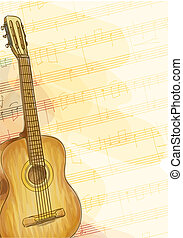 Guitar on music background with notes. Watercolor style. Vector illustration.
