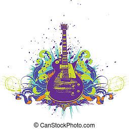 Guitar on the  grunge background. Vector illustration.