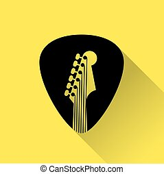 Guitar Pick flat design icon for web