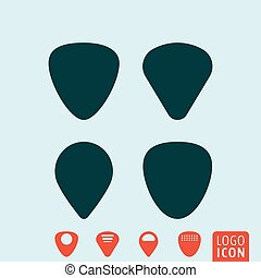 Guitar pick or plectrum - Guitar pick symbol. Plectrum icon...