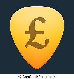 Guitar pick with a currency sign