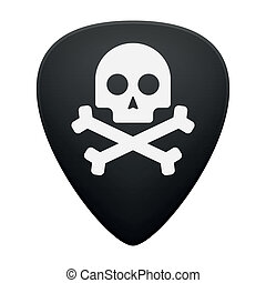 Guitar pick with a skull - Illustration of an isolated...