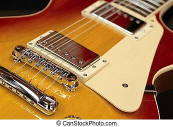 Guitar pickups - Closeup of pickups on an electric guitar