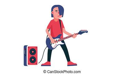 Guitar player cartoon. Rock musician with electric guitar....