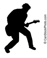 Guitar player - Black silhouette of a playing guitarist, on...