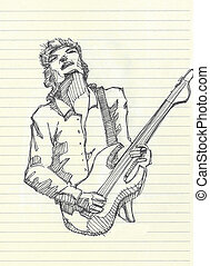 Guitar player - Hand drawn illistration of a guitar player...