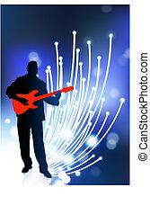 Guitar player on Fiber Optic Background