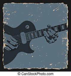 Guitar player on grunge background. Vector illustration