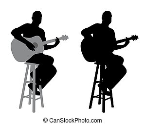Guitar player sitting on a bar stool