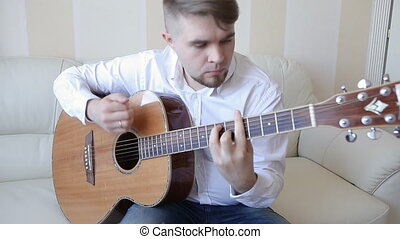 guitar., pratiquer, jouer, mains