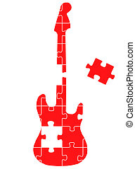 Guitar puzzle vector concept background