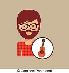 guitar retro music hipster man