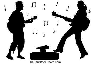 guitar rock stars, abstract singers silhouettes against...