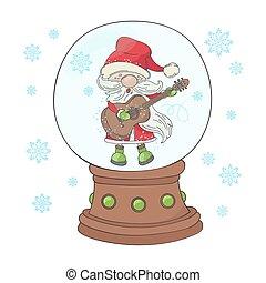 GUITAR SANTA Christmas Cartoon Musician Vector Illustration Set