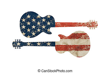 Guitar shaped old grunge vintage American US flag