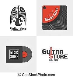 Guitar shop, music store set of vector icon, symbol, emblem, logo