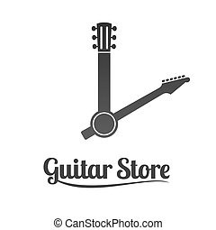 Guitar shop vector logo