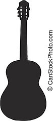 guitar silhouette - classical guitar - isolated vector...