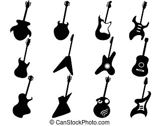 Guitar Silhouettes - isolated Guitar Silhouettes from white...