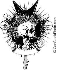 guitar skull var 8 - Vector illustration skull and guitar on...