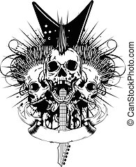 guitar skull_var 9 - Vector illustration skulls with mohawk...