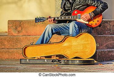 guitar speler, met, open, guitar geval