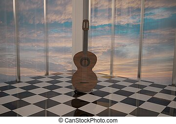 Guitar standing in elegant room