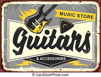 Guitar store retro advertisement sign board with electric...
