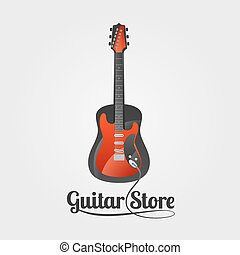 Guitar store vector logo