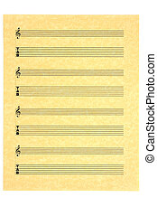 Blank Music Sheet for guitar (tabs) with treble clef on parchment paper for your composition. Isolated.