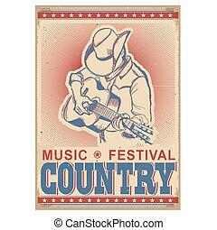 guitar., tocando, fundo, americano, música, festival, músico