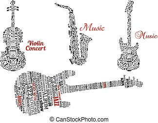 Guitar, violin and saxophone with notes or tag clouds